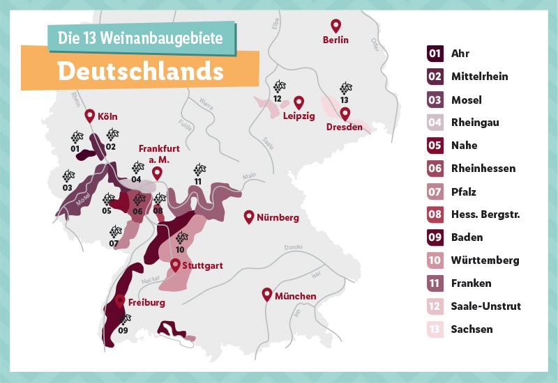 deutsche weinanbaugebiete karte Die 13 Weinanbaugebiete Deutschlands   Lidl.de