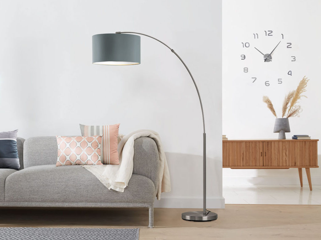 Livarno Lux Led Arc Lamp Textile Lampshade Warm White Lightled Arc Lamp With Lampshade Made Of Fine Textile Wikilidl Com