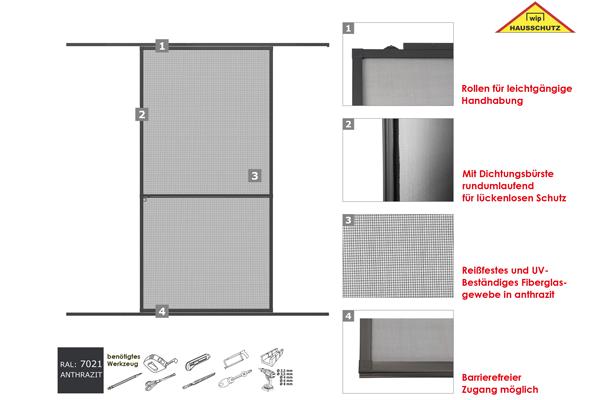 Insektenschutz Alu Rahmen System Profi Schiebet/ür 120 x 240cm k/ürzbar Wei/ß